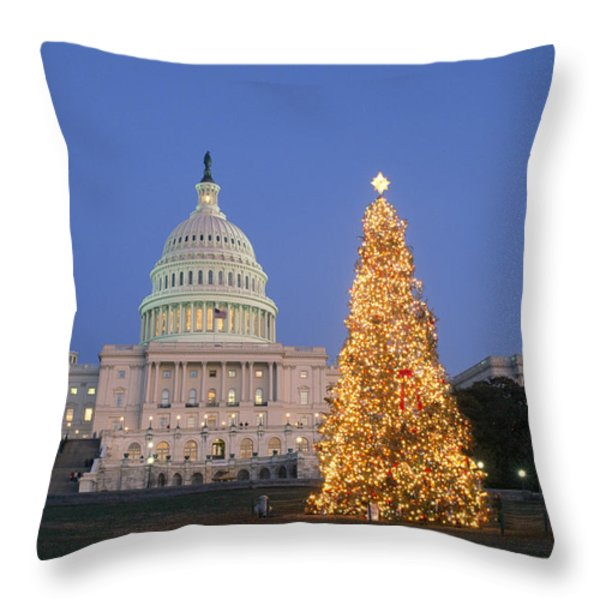 View Of The National Christmas Tree Throw Pillow by Richard Nowitz