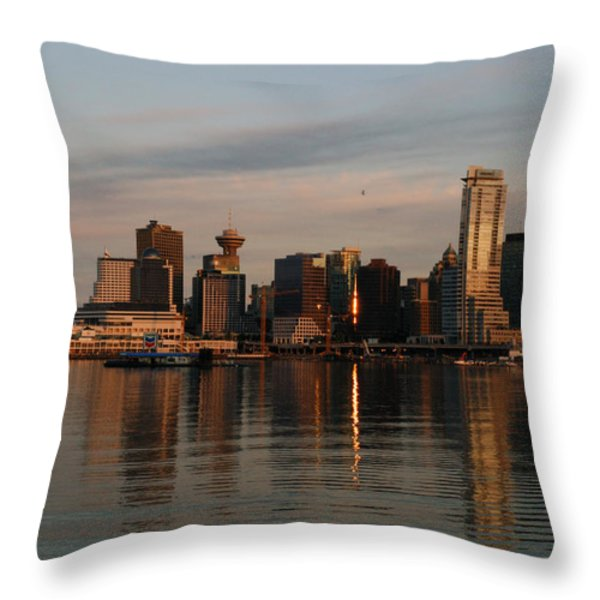 View Of The Waterfront And Downtown Throw Pillow by Darlyne A. Murawski