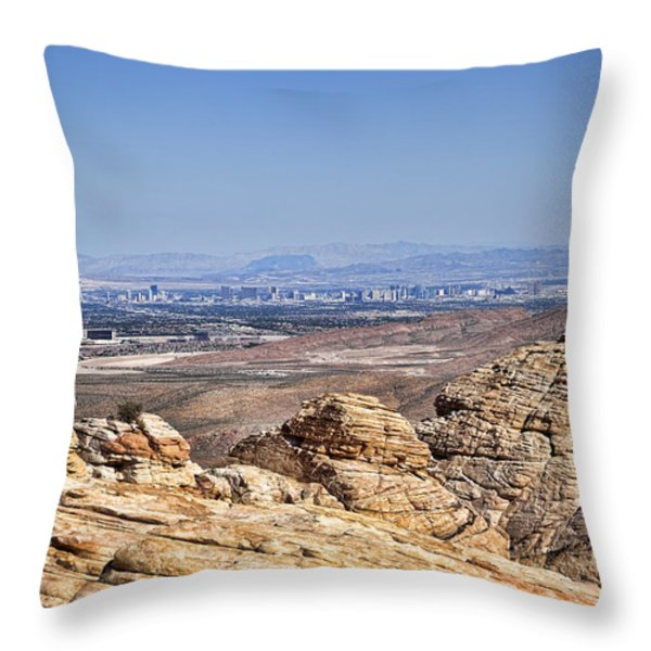 View of Vegas Throw Pillow by Kelley King