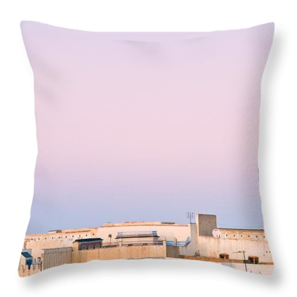 View Over Rooftops Kairouan, Tunisia Throw Pillow by David DuChemin