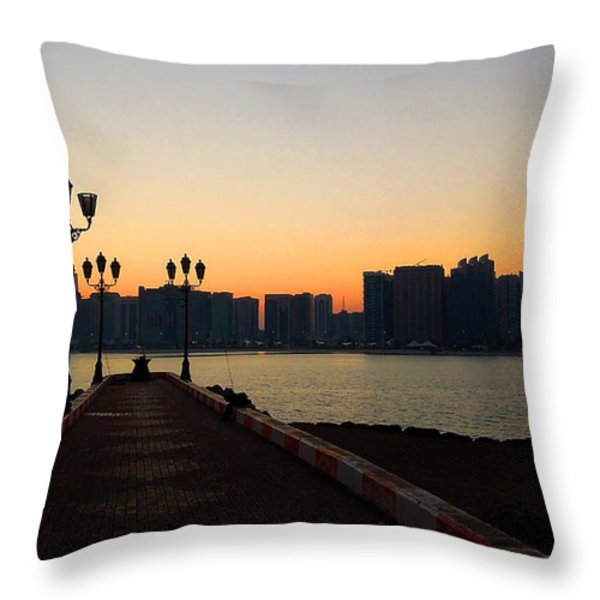 View Port Throw Pillow by Farah Faizal