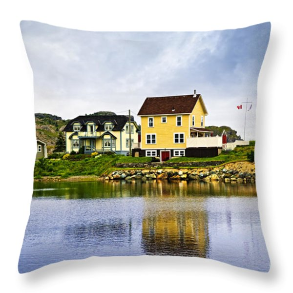 Village in Newfoundland Throw Pillow by Elena Elisseeva
