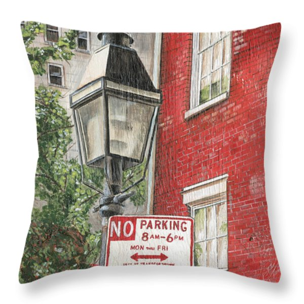 Village Lamplight Throw Pillow by Debbie DeWitt