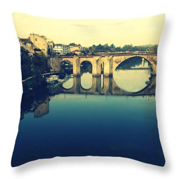 Villeneuve sur Lot's River Throw Pillow by Nomad Art And  Design