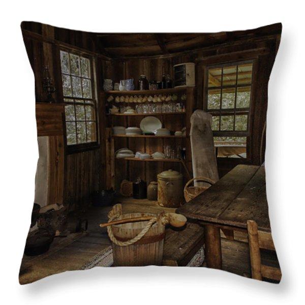 Vintage 1850s Cracker Kitchen Throw Pillow by Lynn Palmer