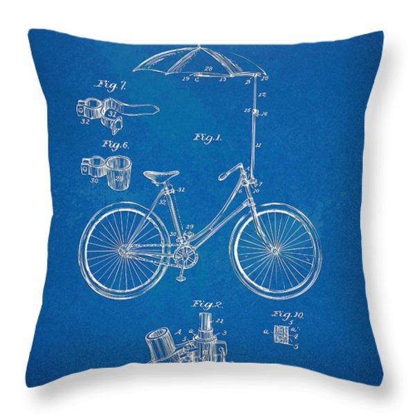 Vintage Bicycle Parasol Patent Artwork 1896 Throw Pillow by Nikki Marie Smith