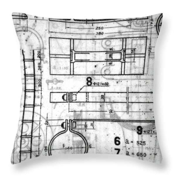 Vintage Blueprints Throw Pillow by Yali Shi