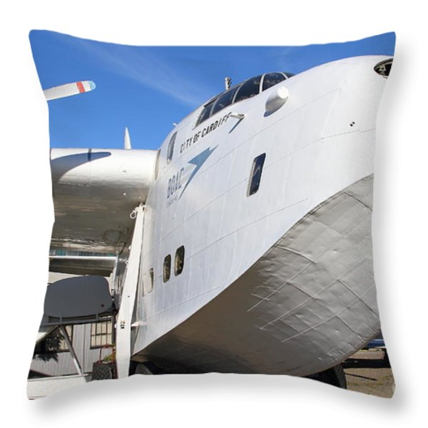 Vintage BOAC British Overseas Airways Corporation Speedbird Flying Boat . 7D11255 Throw Pillow by Wingsdomain Art and Photography
