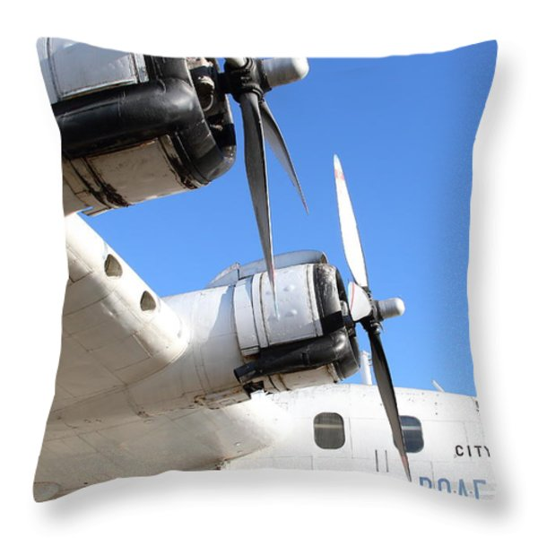 Vintage BOAC British Overseas Airways Corporation Speedbird Flying Boat . 7D11265 Throw Pillow by Wingsdomain Art and Photography