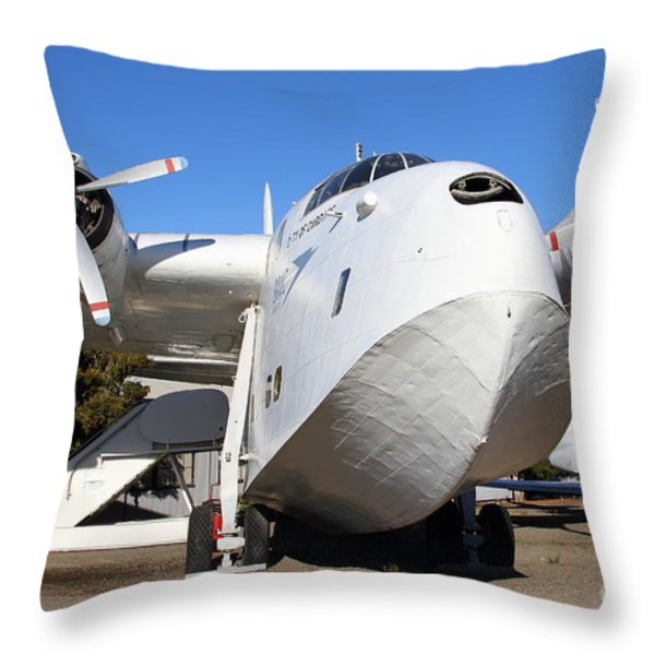 Vintage BOAC British Overseas Airways Corporation Speedbird Flying Boat . 7D11275 Throw Pillow by Wingsdomain Art and Photography