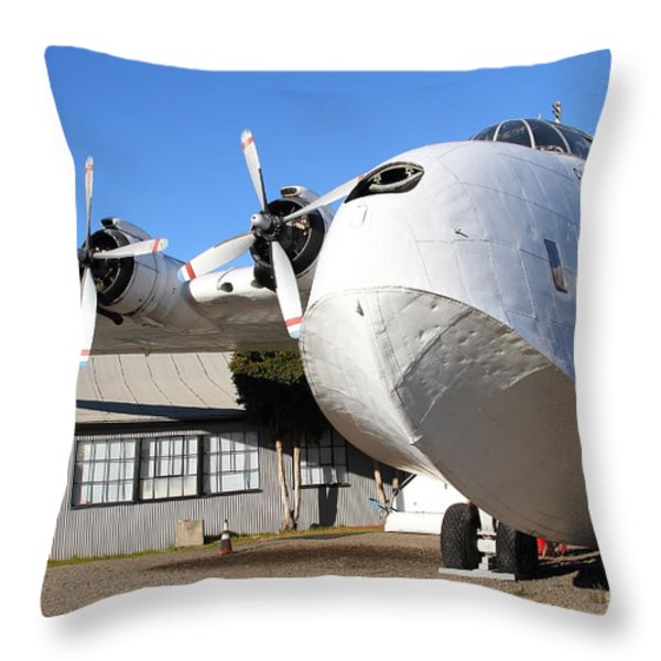Vintage Boac British Overseas Airways Corporation Speedbird Flying Boat . 7d11276 Throw Pillow by Wingsdomain Art and Photography