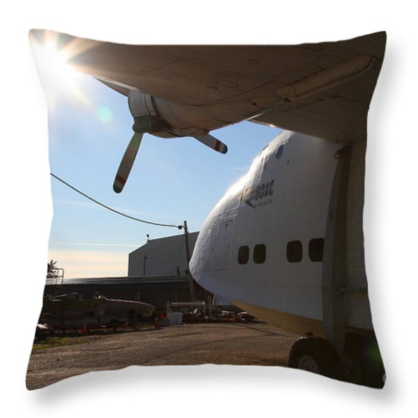 Vintage Boac British Overseas Airways Corporation Speedbird Flying Boat . 7d11284 Throw Pillow by Wingsdomain Art and Photography