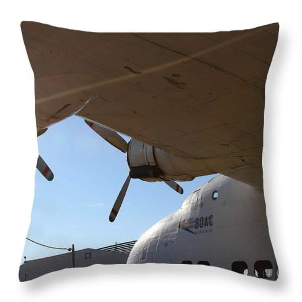 Vintage BOAC British Overseas Airways Corporation Speedbird Flying Boat . 7D11286 Throw Pillow by Wingsdomain Art and Photography