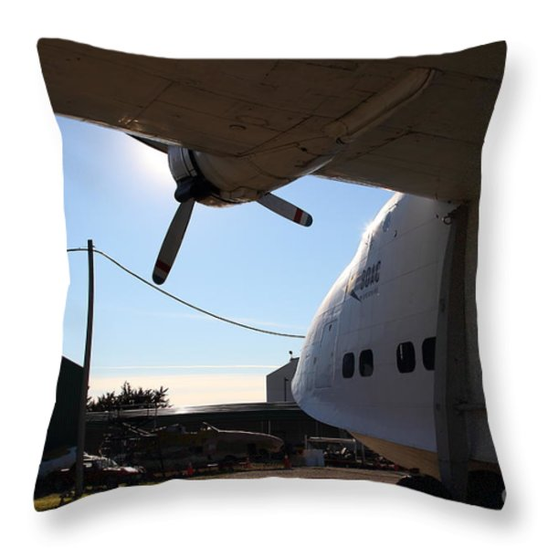 Vintage Boac British Overseas Airways Corporation Speedbird Flying Boat . 7d11287 Throw Pillow by Wingsdomain Art and Photography