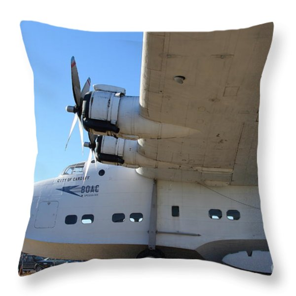 Vintage BOAC British Overseas Airways Corporation Speedbird Flying Boat . 7D11291 Throw Pillow by Wingsdomain Art and Photography