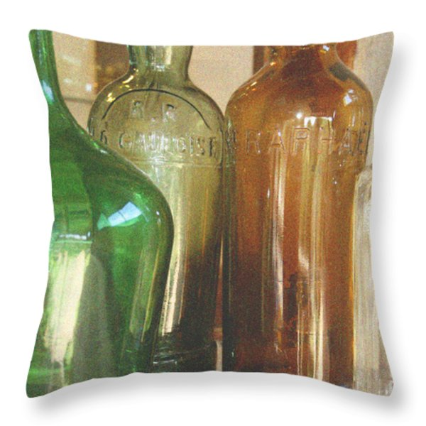 Vintage bottles Throw Pillow by Nomad Art And  Design