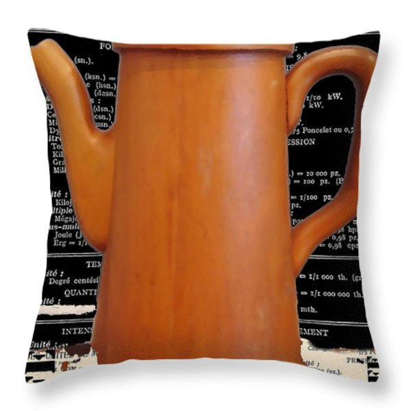 Vintage Cafe Coffee Pot  Print Throw Pillow by AdSpice Studios