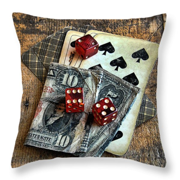 Vintage Cards Dice and Cash Throw Pillow by Jill Battaglia