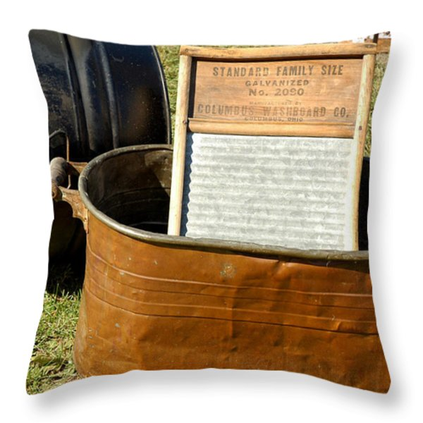 Vintage Copper Wash Tub Throw Pillow by LeeAnn McLaneGoetz McLaneGoetzStudioLLCcom