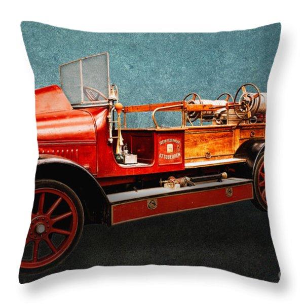 Vintage Fire Truck Throw Pillow by Jutta Maria Pusl