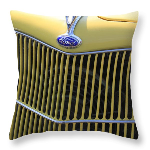 Vintage Ford V8 Grill Throw Pillow by Suzanne Gaff