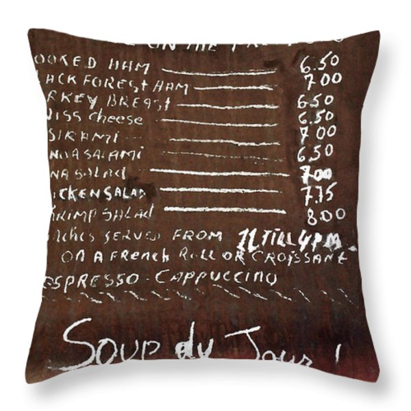 Vintage French Bistro Menu Throw Pillow by AdSpice Studios