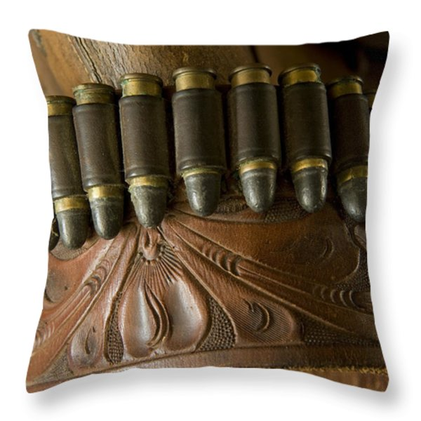 Vintage Holster And Bullets Throw Pillow by Joel Sartore