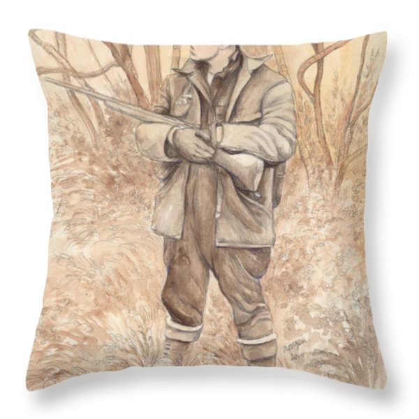 Vintage Hunting Throw Pillow by Morgan Fitzsimons