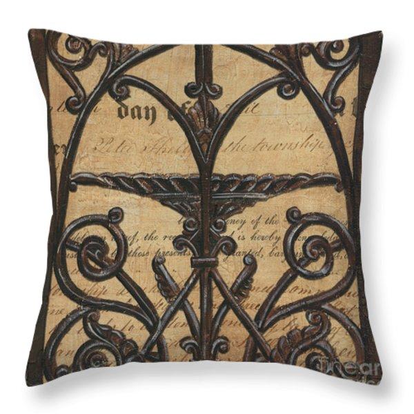 Vintage Iron Scroll Gate 1 Throw Pillow by Debbie DeWitt