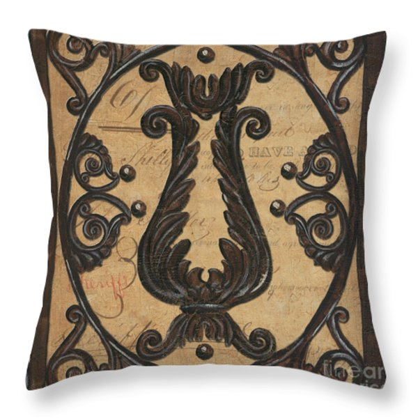 Vintage Iron Scroll Gate 2 Throw Pillow by Debbie DeWitt