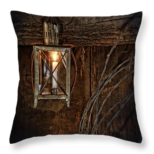Vintage Lantern Hung in a Barn Throw Pillow by Jill Battaglia