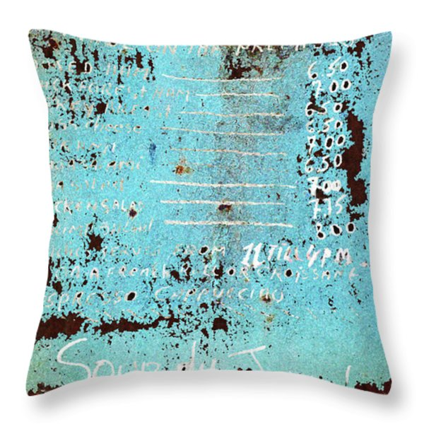 Vintage Menu Minestrone Throw Pillow by adSpice Studios