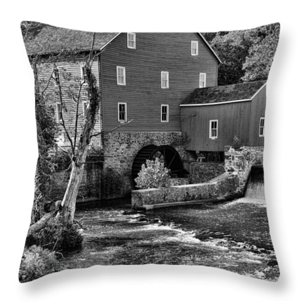 Vintage Mill in Black and White Throw Pillow by Paul Ward