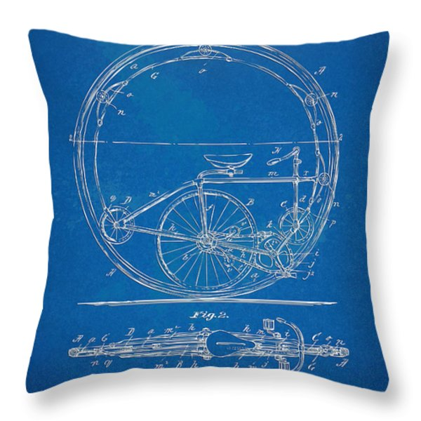 Vintage Monocycle Patent Artwork 1894 Throw Pillow by Nikki Marie Smith