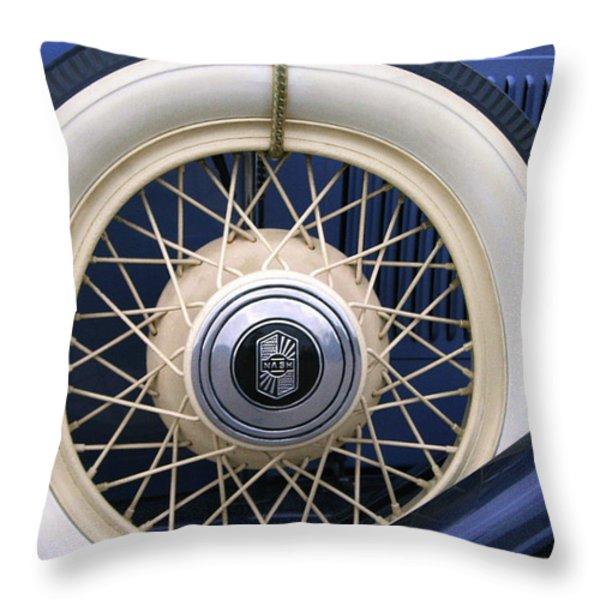 Vintage Nash Tire Throw Pillow by Kay Novy