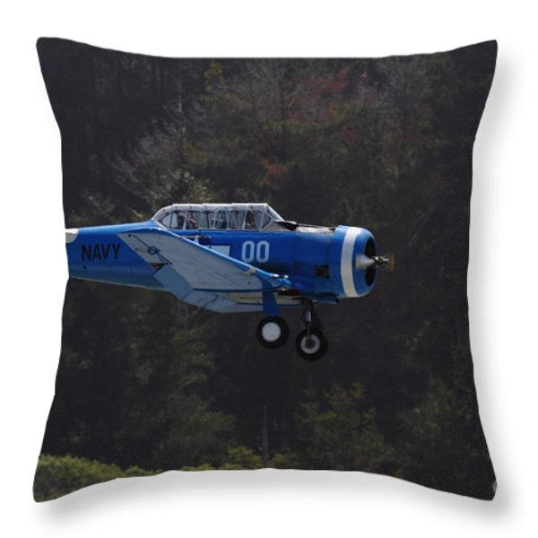 Vintage North American Snj-4 Us Navy Aircraft . 7d15627 Throw Pillow by Wingsdomain Art and Photography