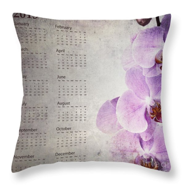 Vintage Orchid Calendar 2013 Throw Pillow by Jane Rix