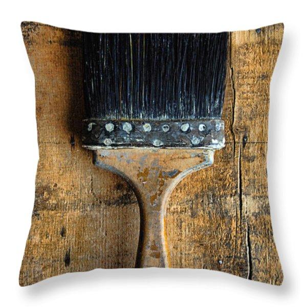 Vintage Paint Brush Throw Pillow by Jill Battaglia