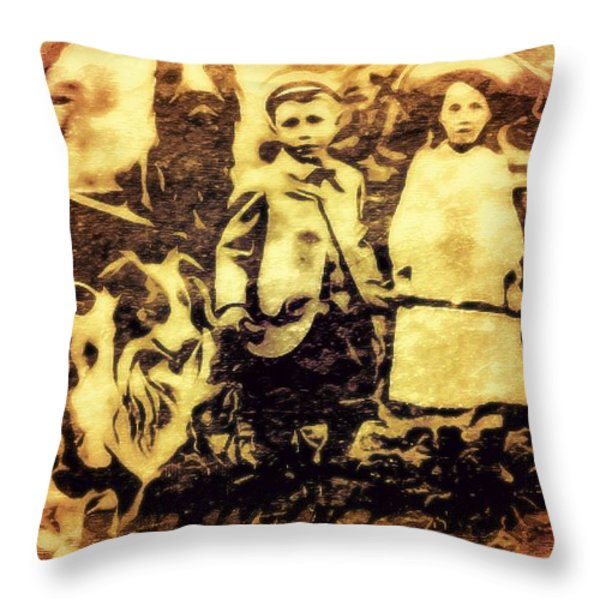 Vintage Pets Throw Pillow by Tisha McGee