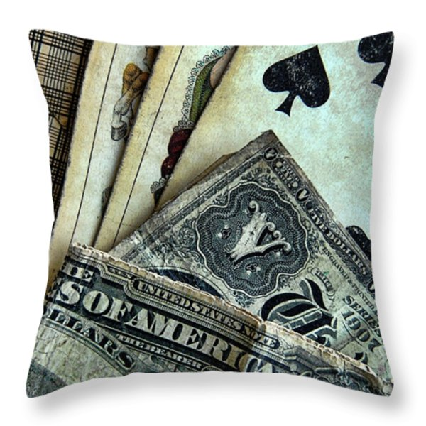 Vintage Playing Cards And Cash Throw Pillow by Jill Battaglia
