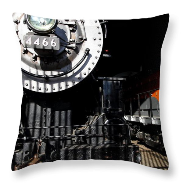 Vintage Railroad Locomotive Trains In The Train House . 7d11633 Throw Pillow by Wingsdomain Art and Photography