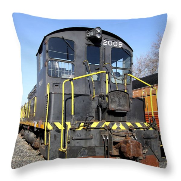 Vintage Railroad Trains In Old Sacramento California . 7d11591 Throw Pillow by Wingsdomain Art and Photography