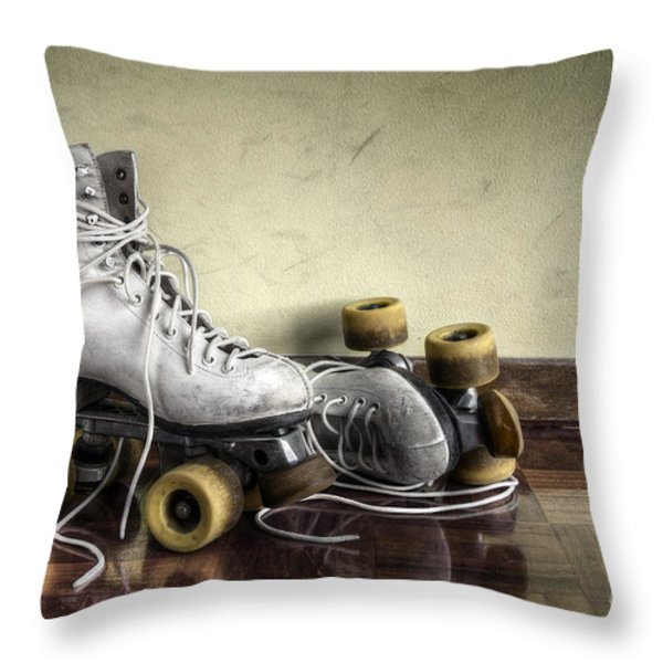Vintage roller skates  Throw Pillow by Carlos Caetano