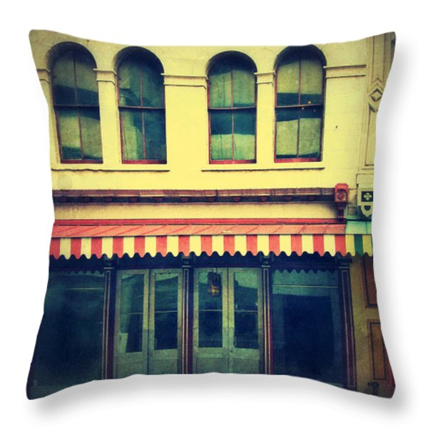 Vintage Store Fronts Throw Pillow by Jill Battaglia
