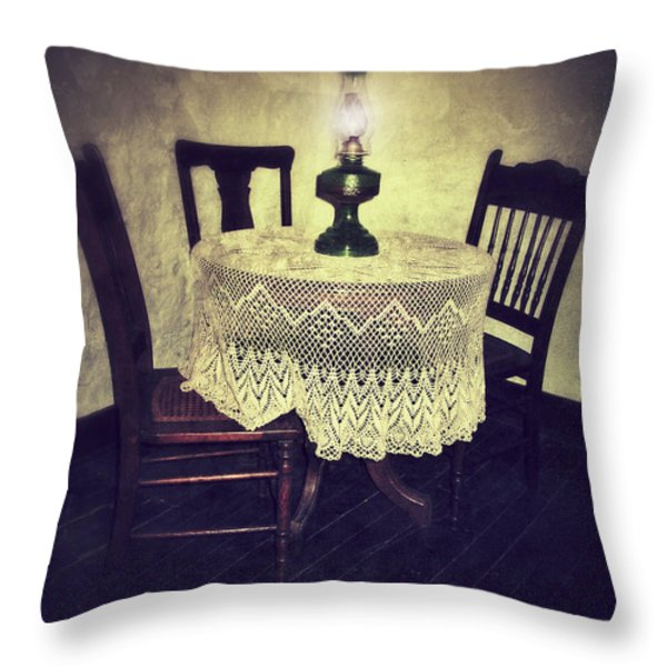 Vintage Table and Chairs by Oil Lamp Light Throw Pillow by Jill Battaglia