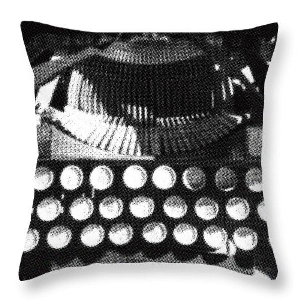 Vintage Typewriter Silk Screen Throw Pillow by adSpice Studios