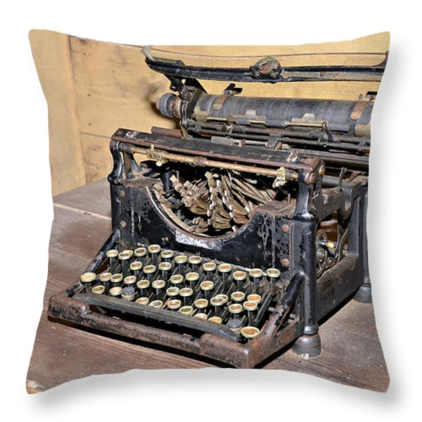 Vintage Typewriter Throw Pillow by Susan Leggett