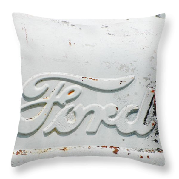 Vintage White Ford Sign Throw Pillow by Anahi DeCanio