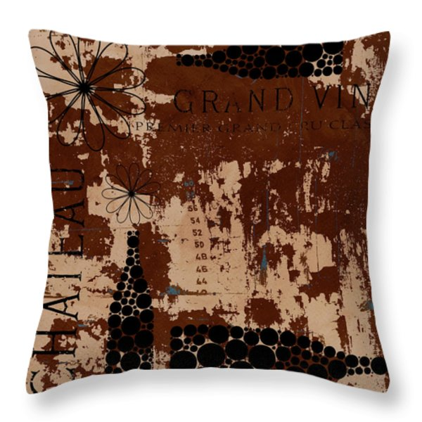 Vintage Wine Throw Pillow by Frank Tschakert