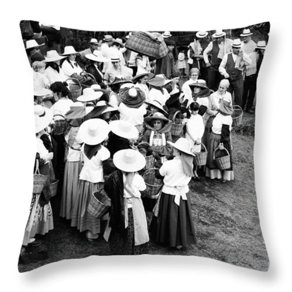 Vintage Workers Throw Pillow by Gaspar Avila